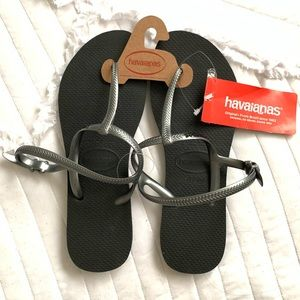 Havaianas | Black Thong w/ Strap Slippers